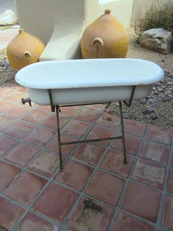 Authentic Vintage ANTIQUE Baby BATHTUB Tub With Stand From