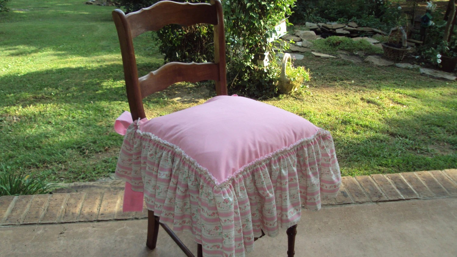 pink slipcover chair back support cushion for office singapore shabby chic seat cover ruffled edge with bow ties