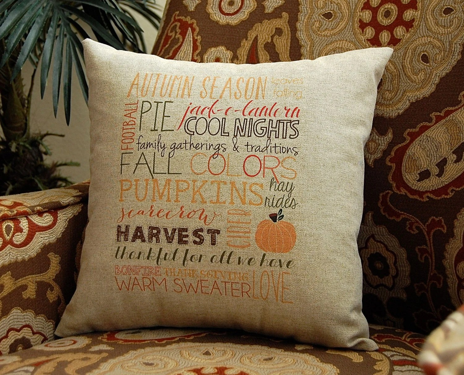 Fall Pillow Subway Art Decorative Throw Pillow by