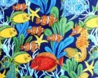 Fish Fabric , Bright Colorful Fish Fabric Clown Fish Fabric , Sea Horse Material Cotton Fabric Go Fish , Blank Fabric