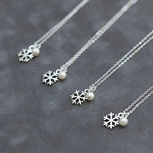 Snowflake Bridesmaid Jewelry Set Of 4 Four Custom