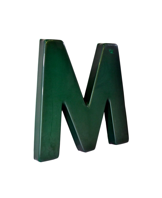 Vintage Letter M Large Industrial Letter M Large Green