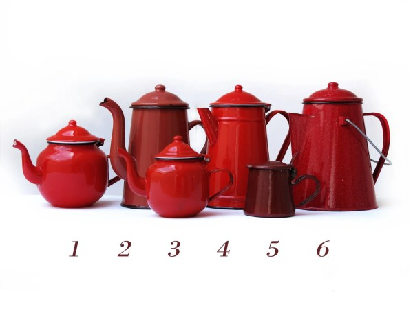 Red Kitchenlarge French Vintage Enamel Teapot