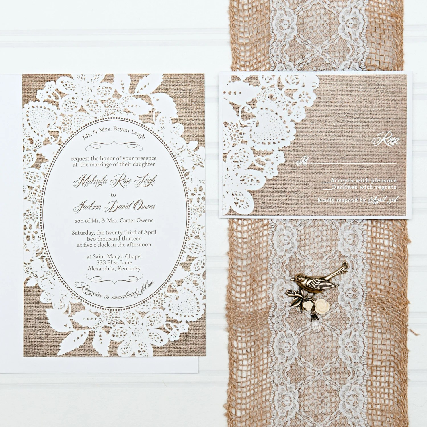 Burlap and Lace Wedding Invitation Set with RSVP cards and