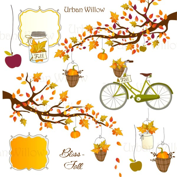 bliss fall & bicycle clip art set