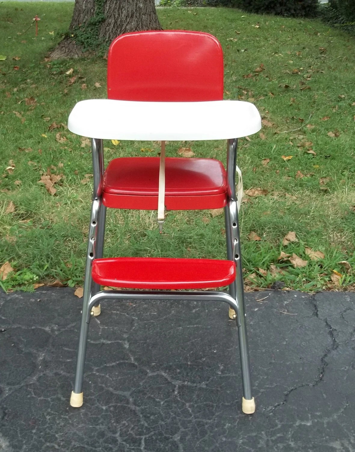 Red High Chair Vintage 1950s Cosco High Chair In Red Vinyl And Chrome White