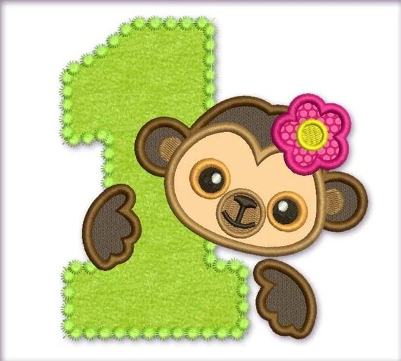 Items similar to Funny Monkey Girl Happy Birthday Number 1