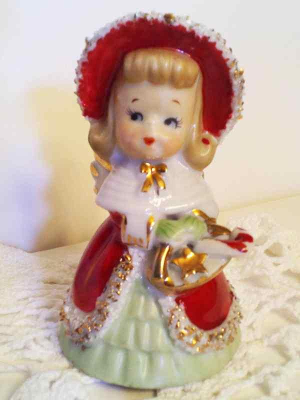 Vintage Lefton Christmas Shopper Girl Spaghetti Angel Bell