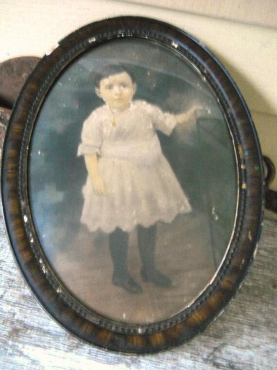 Vintage 1910 Edwardian Hand Tinted Photo Print Child Portrait