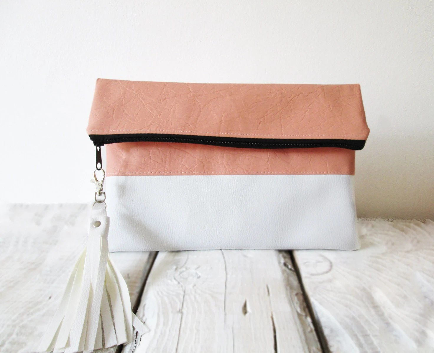 Clutch purse, Fold over, Blush Pink, Peach, White, Color block, Tassel , Fringe - byMART