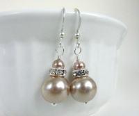 Champagne earrings champagne pearl earrings by Dewdropsdreams