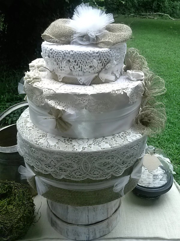 Fake Wedding Cake Burlap And Lace Rustic