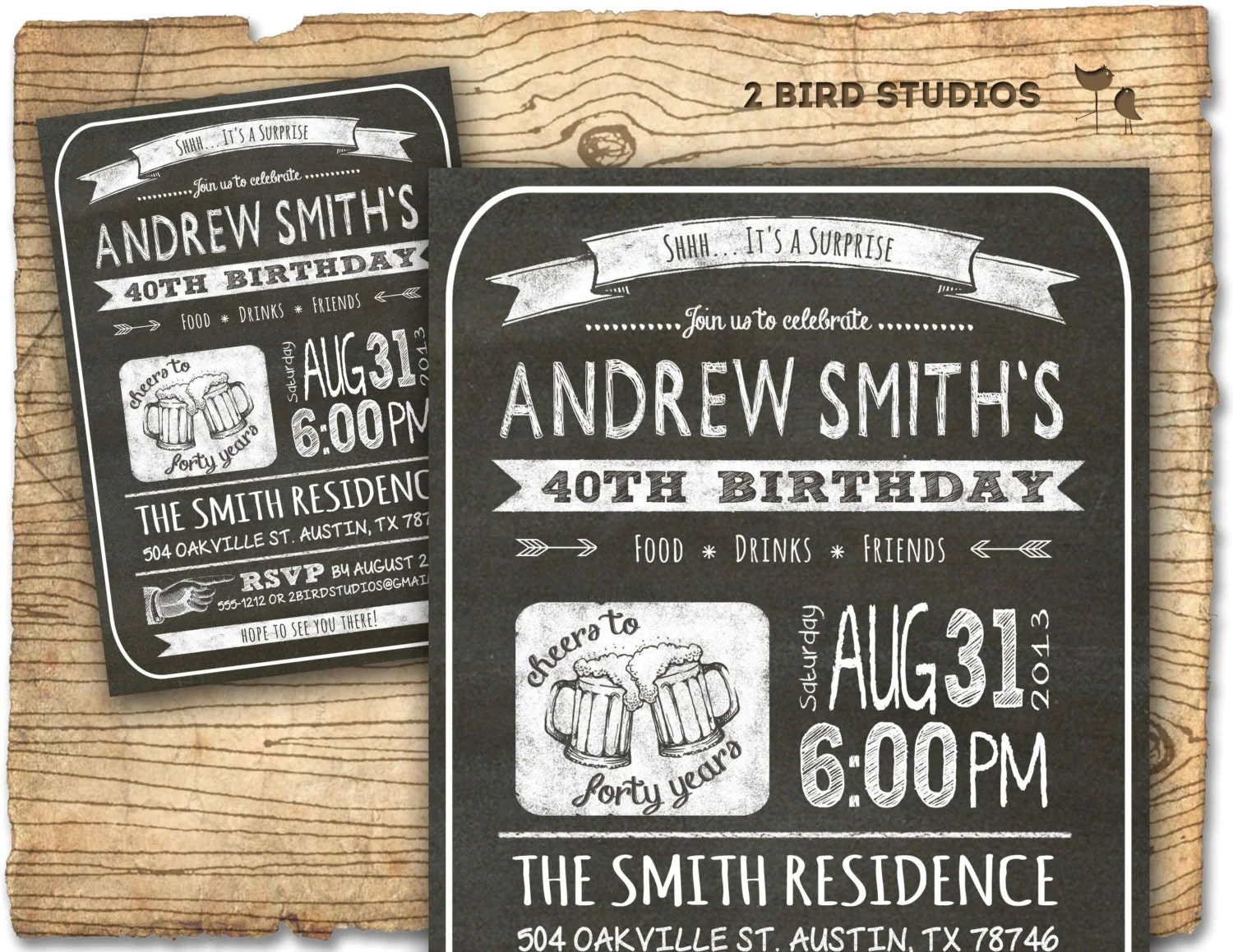30th Birthday Invitation Male Party By 2birdstudios