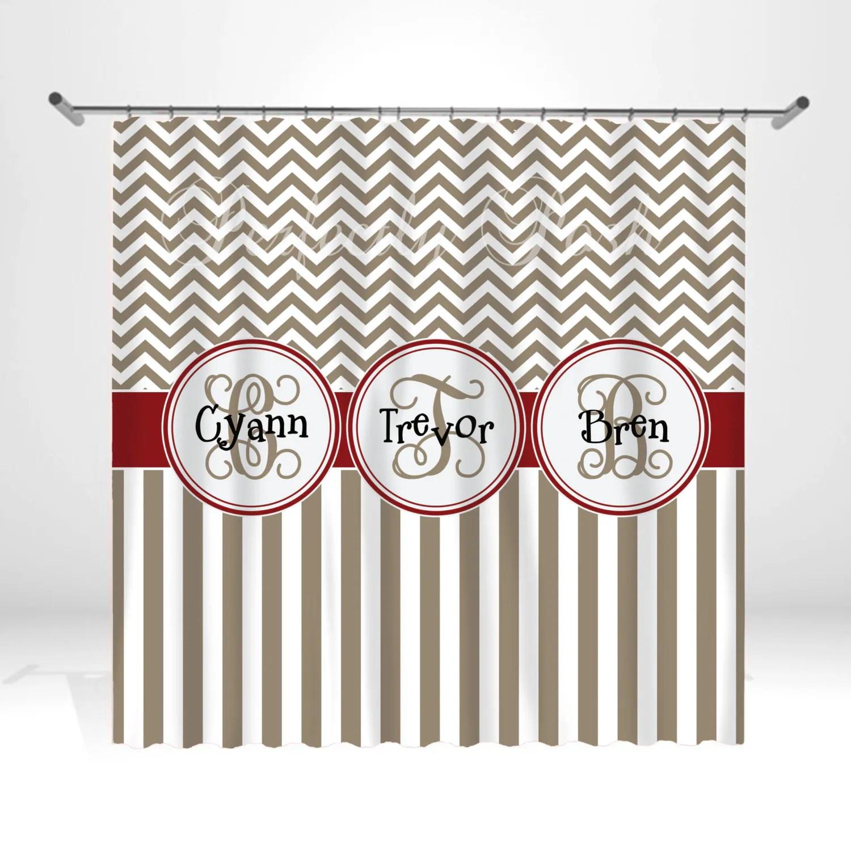 Personalized Chevron Shower Curtain