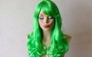lime green wig. hair