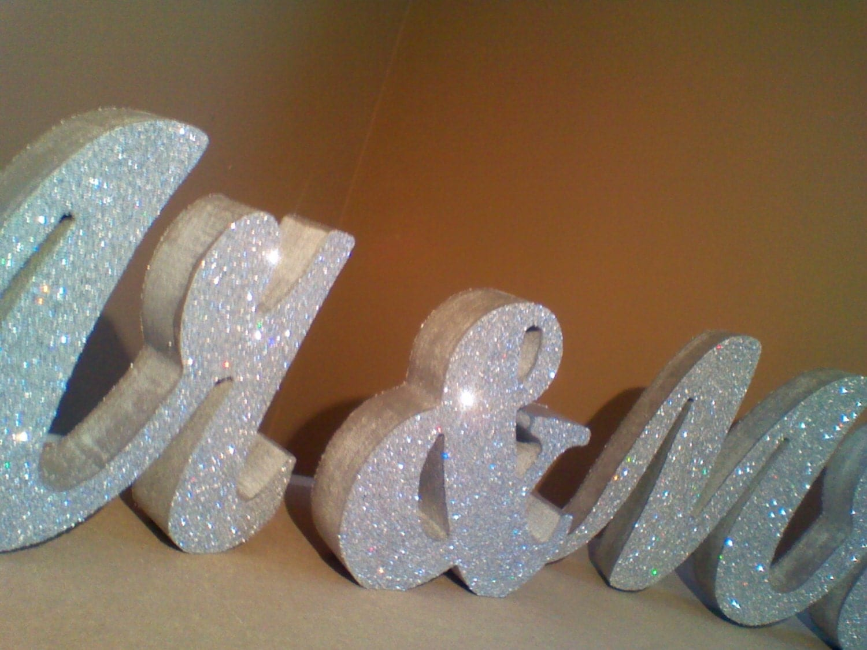 Mr & Mrs Sign / Silver Glitter Wedding Decor By ItsinGlitter
