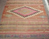 "Vintage Turkish Anatolian Kilim Rug Vegitable and Natural Color Wool on Wool  96,5"" by 74,8"" inches (245cm by 190cm) - TARZANPILLOW"