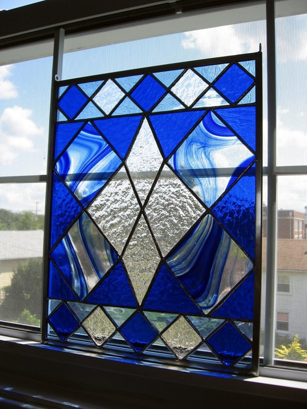 Geometric Stained Glass Window Panel Blue