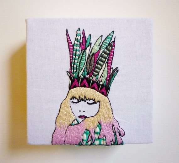 Embroidery Art, 'Millie' 4x4inch Hipster Stitching