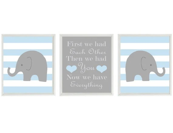 Elephant Nursery Art Print Set Gray Light Blue Stripes