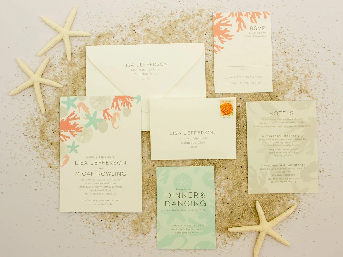 Beach Wedding Invitations Destination Wedding by BanterandCharm
