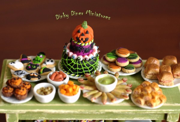 Miniature 112 Scale Food Halloween Party Buffet Table