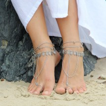 Silver Chain Barefoot Sandals