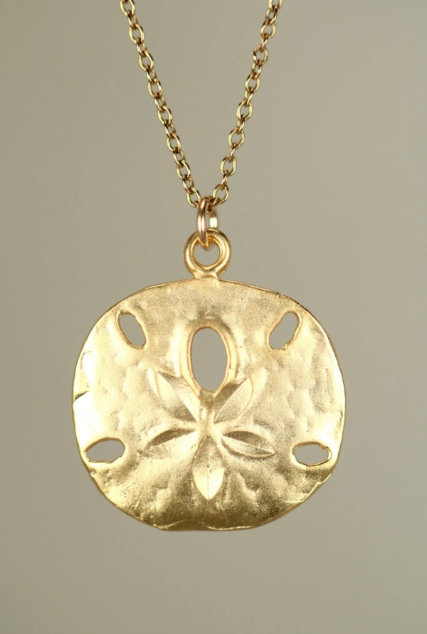 Gold Sand Dollar Necklace Delicate Dainty