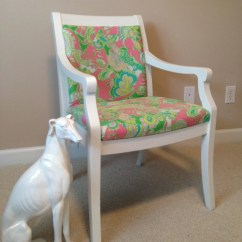 Lilly Pulitzer Chair Victorian Balloon Back Side
