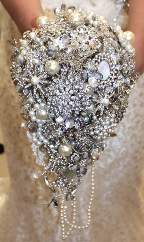 Large cascade brooch bouquet bridal brooch bouquet brides