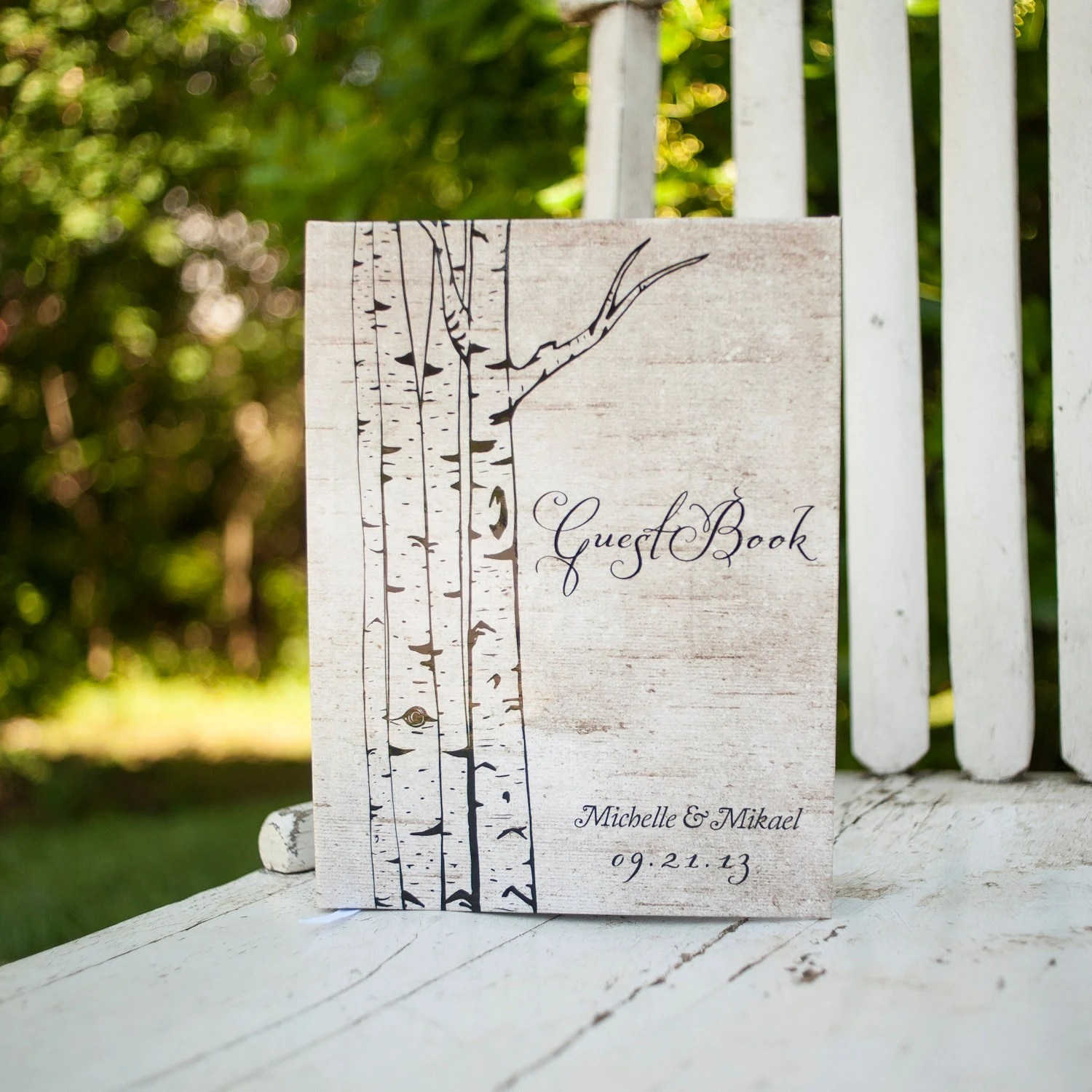 Rustic Wedding Guestbook, Guest Book - Personalized, Customized, Wedding Date and names, trees, woodland wedding, birch bark - inoroutmedia