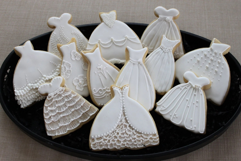 Wedding dress cookie favors sweet 16 bridal shower prom