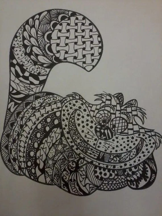 Sale Zentangle Cheshire Cat From Alice In Wonderland Drawing
