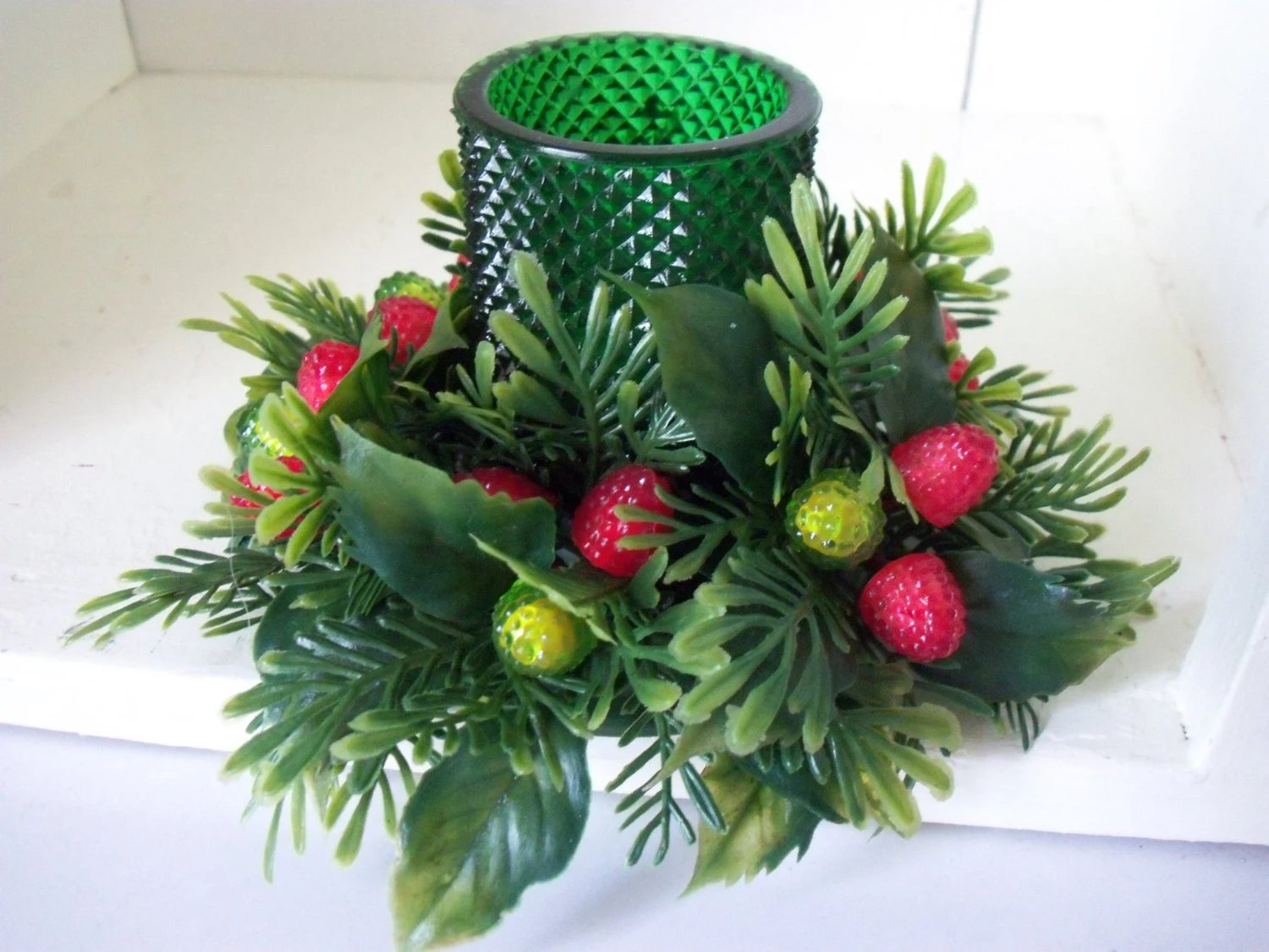 Christmas Candle Wreath Green Votive Holder By Iciclegarden