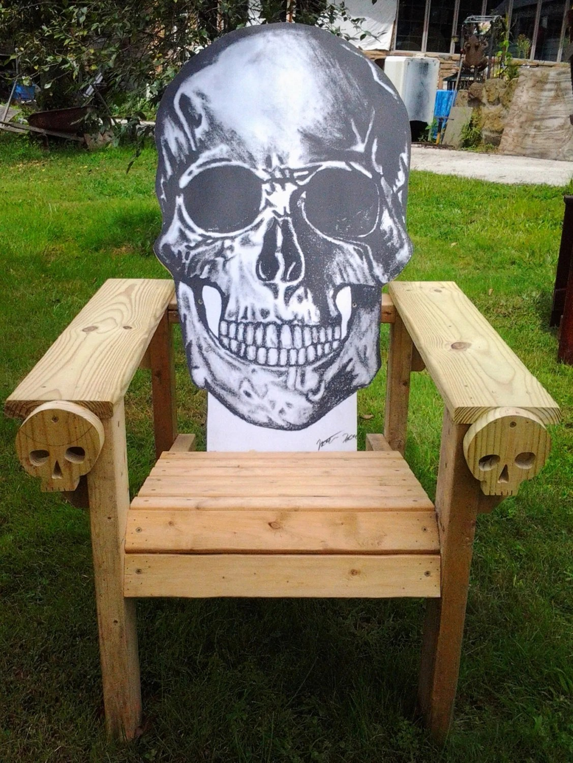 skull adirondack chair plans staining chairs cedar skeleton by mandws on etsy