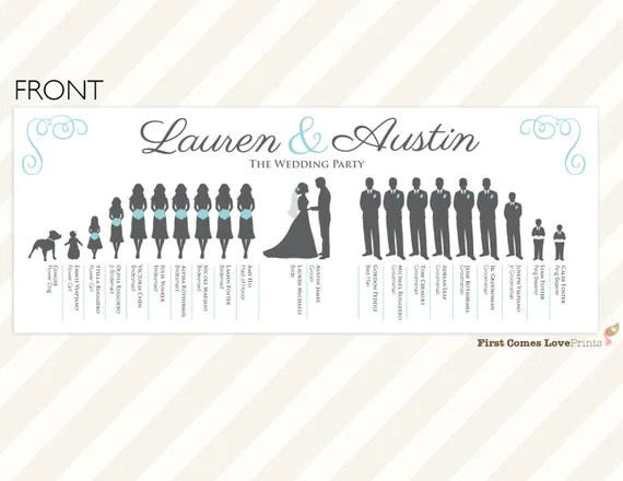 PRINTABLE Silhouette Wedding Program The Lauren: