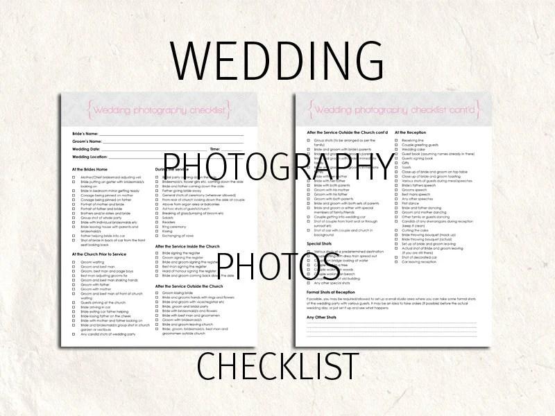 Wedding Photography checklist forms. Photo checklist editable