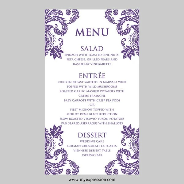 Wedding Menu Card Template Purple Damask Instant Download