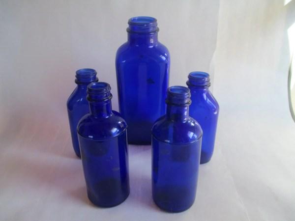 Cobalt Glass Vintage Medicine Bottles 5 Count