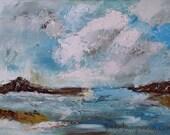Original abstract Landscape Oil painting, beach, coastal, seascape, blue sea, Robin Hoods Bay, England - ArtbyLampreia