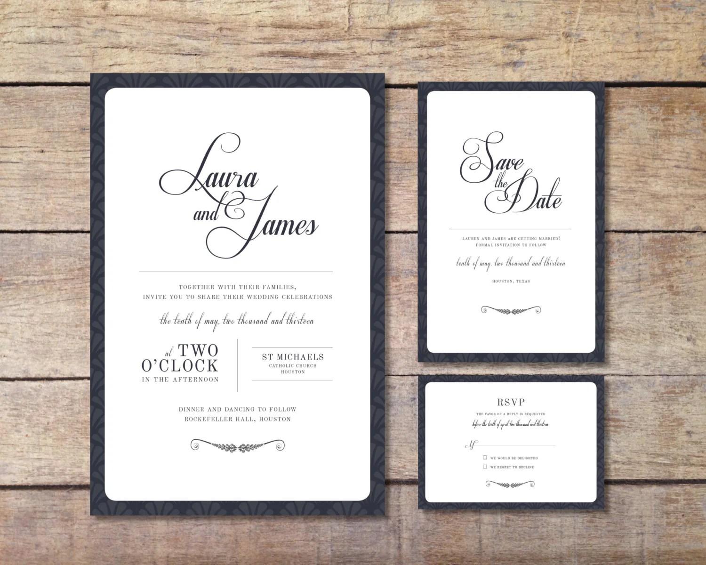 Wedding invitation set elegant design printable for Digital wedding invitations
