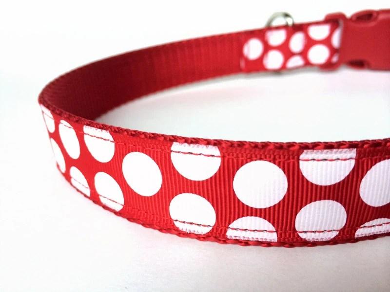 Christmas Red and White Polka Dot Adjustable Holiday Dog Collar - NiftyPup