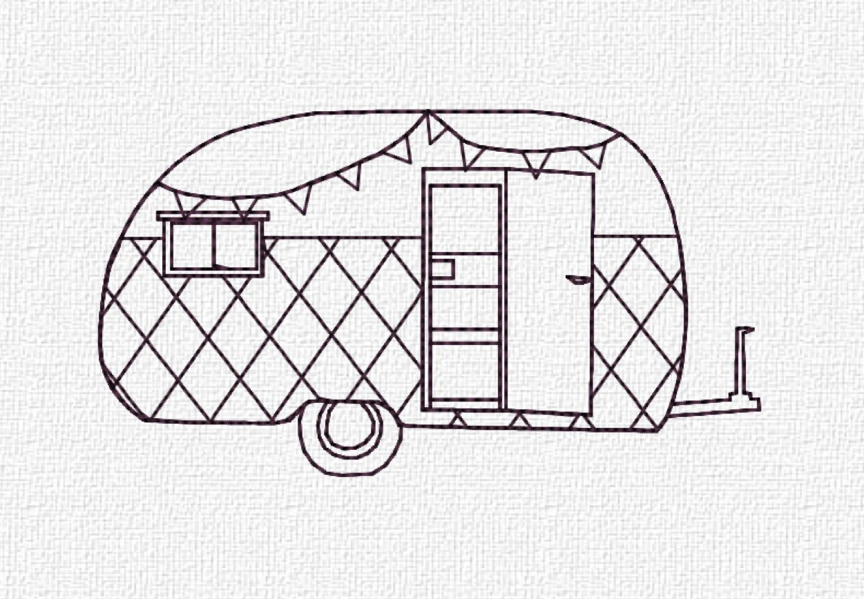 Retro Camper Machine Embroidery Pattern Design Instant