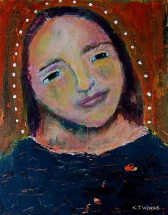 Acrylic Portrait Painting, Halo, Woman, Icon, Orange, Navy Blue, 8x10, Mixed Media, Canvas Panel