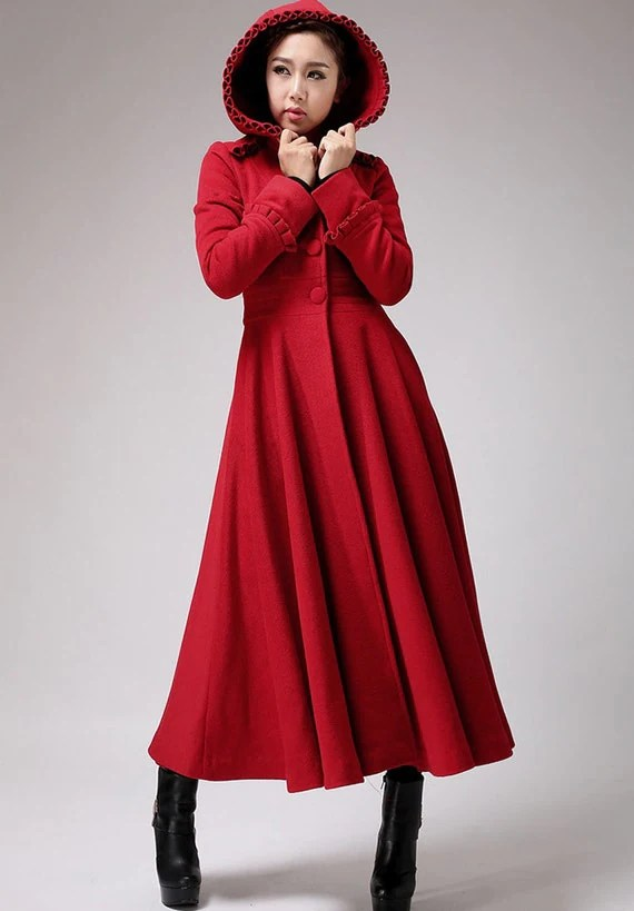 Red long wool coat winter hooded coat fit and by xiaolizi
