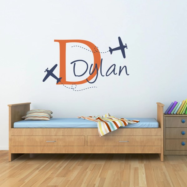 Plane & Boys Wall Decal Airplane With Initial