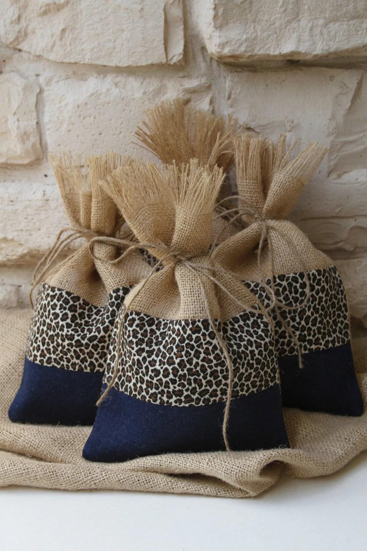 Burlap Gift Bags Burlap Cheetah and Denim Gift Bags Shabby
