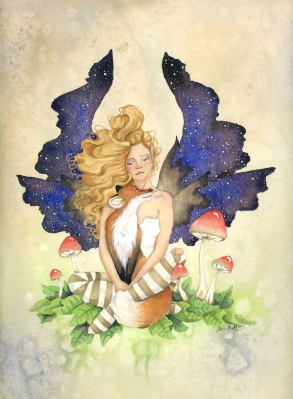 Fairy Art Watercolor Print Fox Cuddle Fantasy. Whimsical