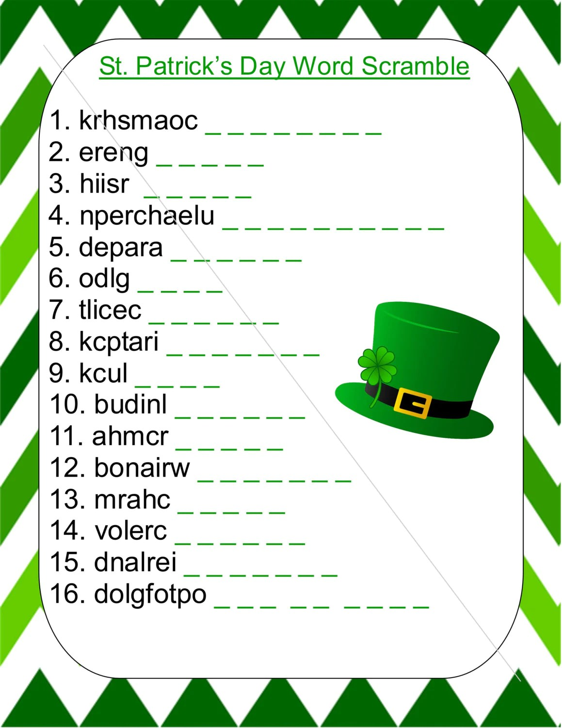 St Patrick S Day Word Scramble With Answers