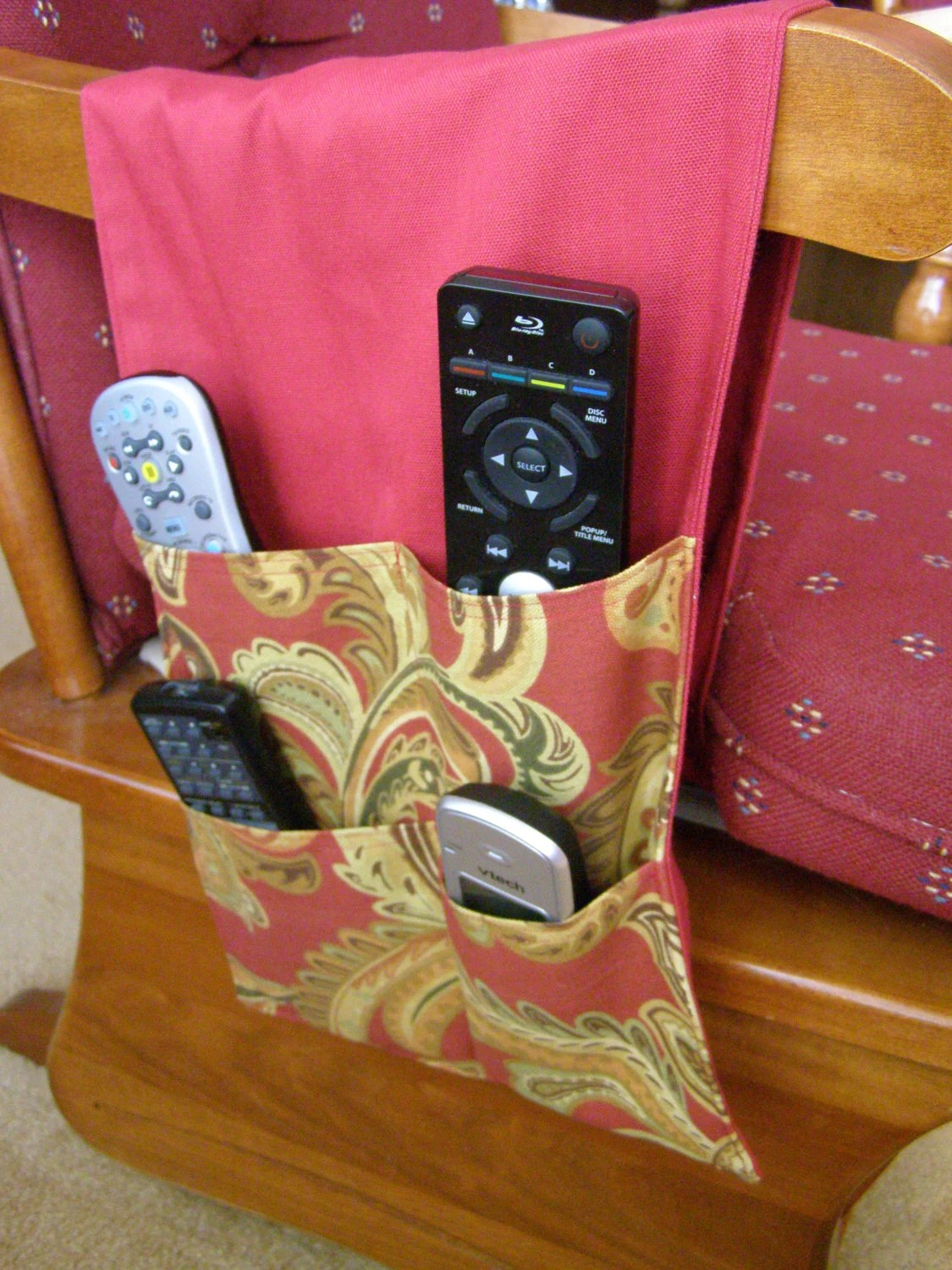 remote control holder for chair pattern how to make a bean bag out of old clothes tv caddy organizer 4 pocket burgundy paisley